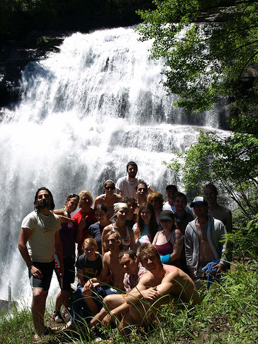 Group in front of falls