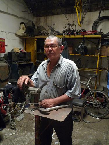 Bike mechanic Julio, my accomplice