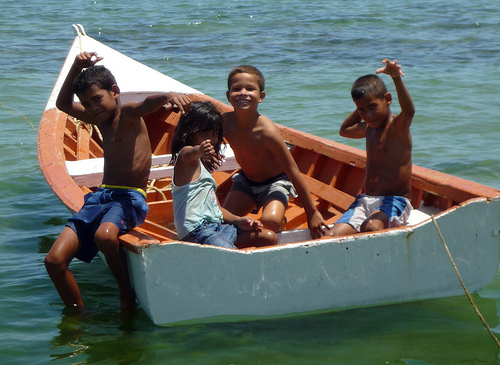 Children in Boat, Araya, Venezuela